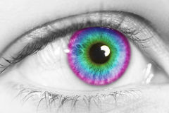 Colorful eye. Beautiful women eyes with colorful effect Stock Photo