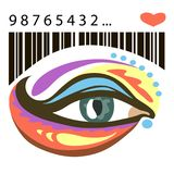 Colorful eye and barcode with heart. Barcode heart and bright eyes. The human eye with decorative elements. There is vector variant Stock Photo