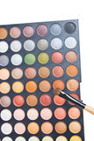 Colorful Eye Shadow. Colorful Eye Shadow Make Up Palette With Brush Stock Photo