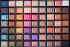 Colorful eye shadows palette. Stock Photos