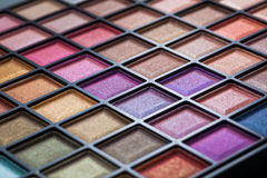 Colorful eye shadows palette. Royalty Free Stock Photography