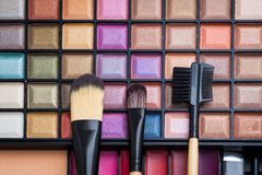 Colorful eye shadows palette with makeup brush. Colorful Makeup palette and brush Royalty Free Stock Photos