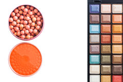 Colorful eye shadows palette with makeup brush. Colorful Makeup palette and brush Stock Images