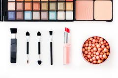 Colorful eye shadows palette with makeup brush. Colorful Makeup palette and brush Royalty Free Stock Images