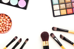 Colorful eye shadows palette with makeup brush. Colorful Makeup palette and brush Stock Image