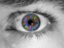 Colorful eyeball. An abstract background with a closeup of an eye with a rainbow colored eyeball Royalty Free Stock Photography