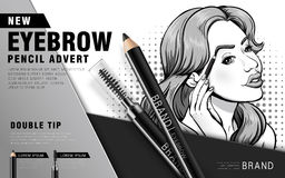 Colorful eyebrow pencil ad Royalty Free Stock Photo