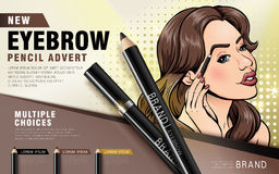 Colorful eyebrow pencil ad Royalty Free Stock Image
