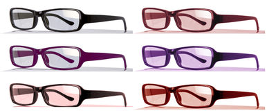 Colorful Eyeglasses with bent arches side view Stock Photo