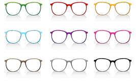 Colorful eyeglasses with shadow on white background Royalty Free Stock Image