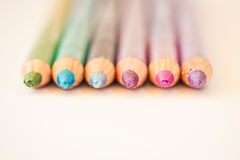 Colorful eyeliners. A still-life of some colorful pencils stock image
