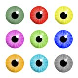 Colorful eyes. 9 different colorful eyes images Stock Images