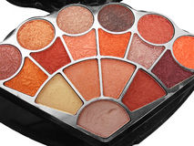 Colorful Eyeshadow. A makeup kit showing many colorful eyeshadow Stock Photos