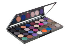 Colorful Eyeshadow. Closeup side view of makeup cosmetic palette Stock Images