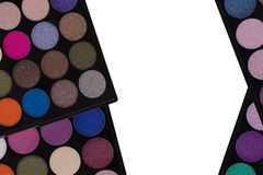 Colorful Eyeshadow. Closeup top view of makeup cosmetic palette Stock Photos