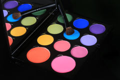 Colorful Eyeshadow Collections on Black Background Royalty Free Stock Photos