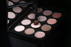 Colorful Eyeshadow Collections on Black Background Royalty Free Stock Photography