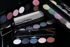 Colorful Eyeshadow Collections on Black Background Stock Photography