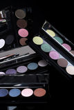 Colorful Eyeshadow Collections on Black Background Royalty Free Stock Images