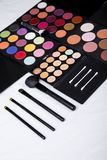 Colorful eyeshadow palette and blush for make-up closeup. Colorful eyeshadow palette and blush for make-up stock image