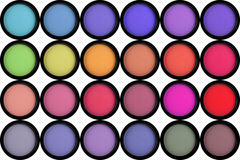 Colorful eyeshadows in black boxes isolated on white Stock Photo