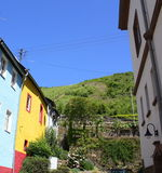 Colorful façades and view to wineyards Royalty Free Stock Photography