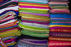 Colorful Fabric. S for sale at an asian market Stock Photography