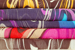 Colorful fabric. Colorful canvas fabric lie flat Royalty Free Stock Photos