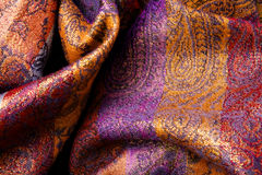 Colorful fabric background - curvy wavy veil Stock Photos