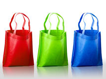 Colorful fabric bag on white background, Stock Image