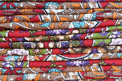 Colorful fabric bed sheet stack background Stock Images