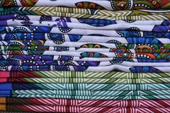 Colorful fabric bed sheet stack background Stock Photo
