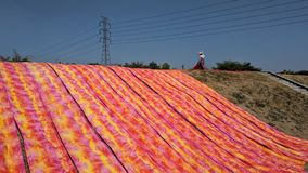 Colorful fabric drying after traditional dye process