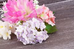 Colorful fabric flowers royalty free stock image