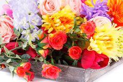 Colorful fabric flowers stock images