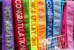 Colorful fabric with graduation text sash Royalty Free Stock Photography