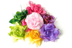 Colorful fabric hair clips. Royalty Free Stock Image