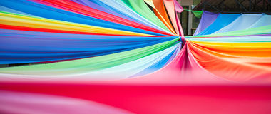 Colorful fabric. Hang on the air Royalty Free Stock Photography