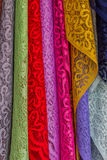 Colorful of fabric Lace rolls. Royalty Free Stock Photography