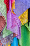 Colorful of fabric Lace rolls. Stock Photography
