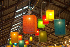 Colorful fabric lanterns Royalty Free Stock Images