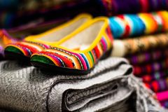 Colorful Fabric at market in Peru, South America Royalty Free Stock Photos