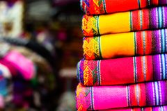 Colorful Fabric at market in Peru, South America Royalty Free Stock Photo