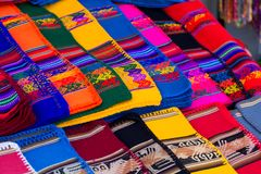 Colorful Fabric at market in Peru, South America Stock Photo