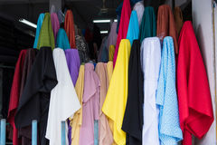 Colorful fabric in fabric market thailand. Royalty Free Stock Photos