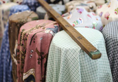 Colorful fabric and meter Stock Images