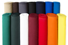 Colorful Fabric. Multiple Rolls of Colorful Fabric Isolated on White Background Royalty Free Stock Photo