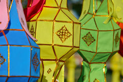 Colorful fabric northen thailand lanterns in day time Royalty Free Stock Photos