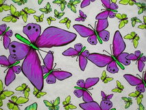 Colorful fabric with painted butterflies Royalty Free Stock Images