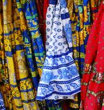 Colorful fabric of Provence. Colorful fabric for sale on a market in Provence, France Stock Photography